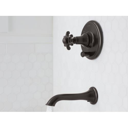 Kohler - Oil-rubbed Bronze Rite-temp Pressure-balancing Valve Trim With Push-button Diverter and Prong Handle