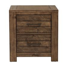 See Details - Nightstand with Two Drawers and Distressed Finish