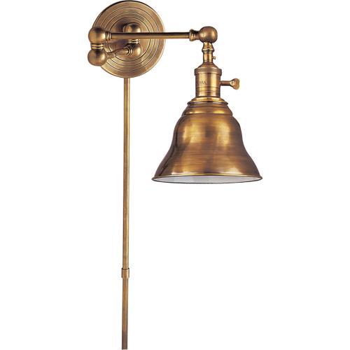 E. F. Chapman Boston 15 inch 60.00 watt Hand-Rubbed Antique Brass Swing-Arm Wall Light