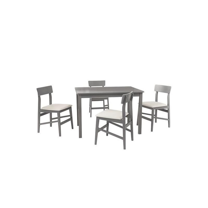 Dining Table w/ 4 Chairs - Gray Finish