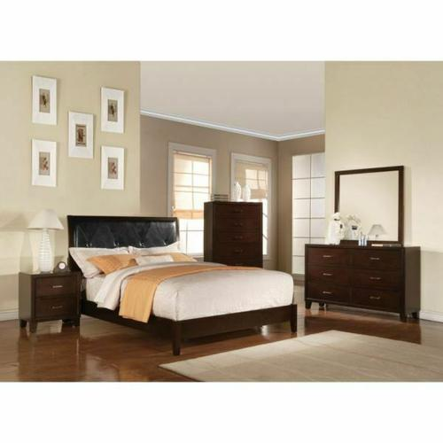 ACME Tyler Eastern King Bed (Padded HB) - 19537EK - Black PU & Cappuccino