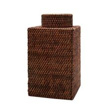 Bali Square Jar, Brown