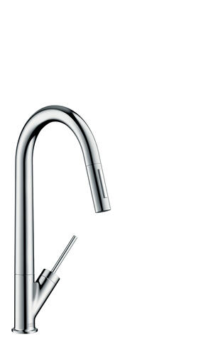 Chrome Single lever kitchen mixer 270 with pull-out spray Eco Product Image