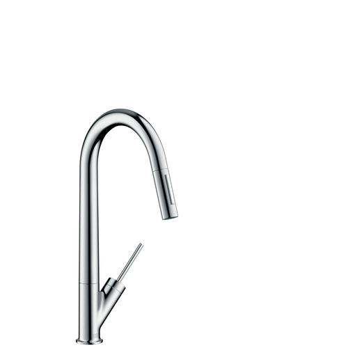Brushed Nickel Single lever kitchen mixer 270 with pull-out spray