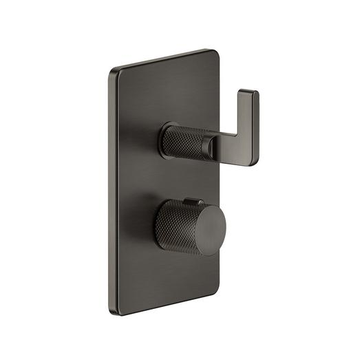 """Gessi - TRIM PARTS ONLY External parts for 3-way thermostatic diverter and volume control Single backplate 1/2"""" connections Vertical application Anti-scalding Requires in-wall rough valve 09279"""