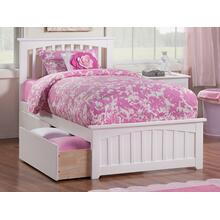View Product - Mission Twin XL Bed with Matching Foot Board with 2 Urban Bed Drawers in White