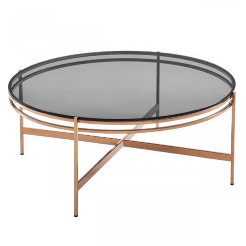 VIG Furniture - Modrest Bradford - Modern Smoked Glass & Rosegold Coffee Table