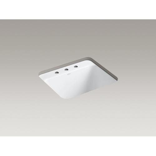 """White 25"""" X 22"""" X 13-5/8"""" Top-mount/undermount Utility Sink With 3 Faucet Holes"""