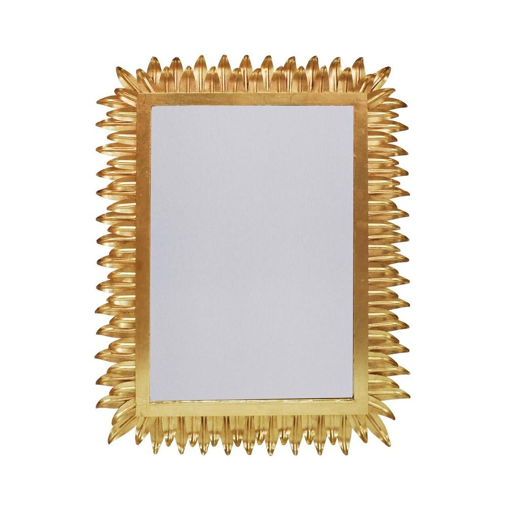 A Reflection of Your Style and Spirit, the Joyous Caesar Rectangular Mirror Features A Delicate Gold Leaf Patterned Frame. A Perfect Statement Piece for A Powder Room or Dramatic Entry MOMENT.