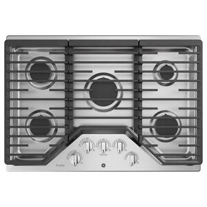 "GE ProfileGE PROFILEGE Profile™ 30"" Built-In Gas Cooktop with 5 Burners and Optional Extra-Large Cast Iron Griddle"