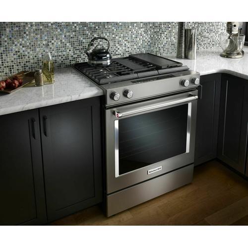 KitchenAid - 30-Inch 4-Burner Dual Fuel Downdraft Slide-In Range - Stainless Steel