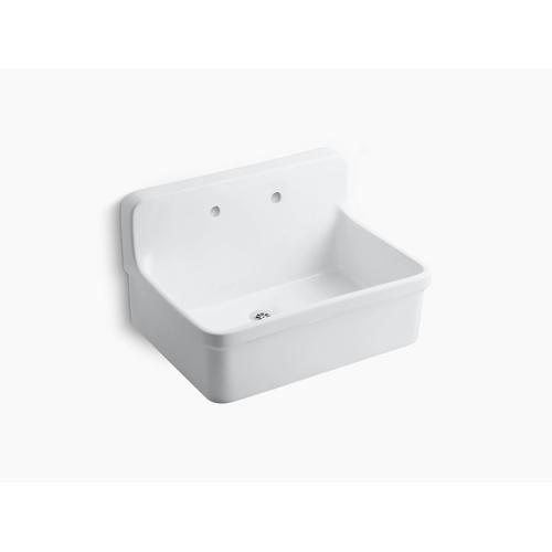 """White 30"""" X 22"""" Bracket-mounted Scrub-up/plaster Sink With 8"""" Widespread Faucet Holes"""