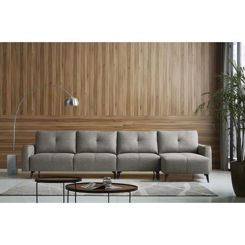 VIG Furniture - Divani Casa Kenton - Modern Grey Fabric Right Facing Sectional Sofa