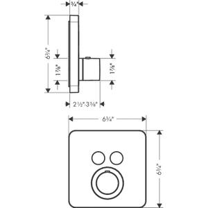 Brushed Nickel Thermostat for concealed installation softcube for 2 functions