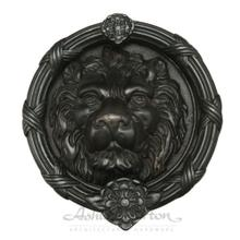 1225 Large Lion Knocker Shown in dark bronze patina