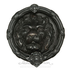 1225 Large Lion Knocker Shown in dark bronze patina Product Image