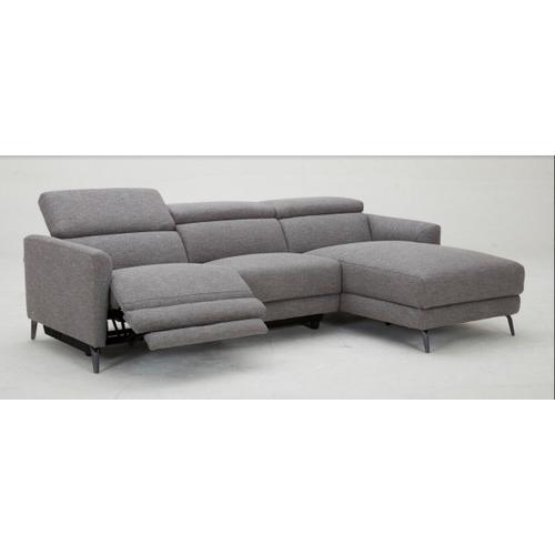 VIG Furniture - Divani Casa Lupita - Modern Grey Fabric Right Facing Sectional Sofa