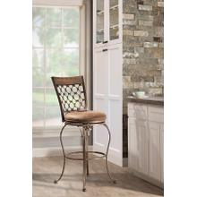 See Details - Lannis Swivel Bar Stool - Brushed Steel Metal With Distressed Brown/gray Finished Wood