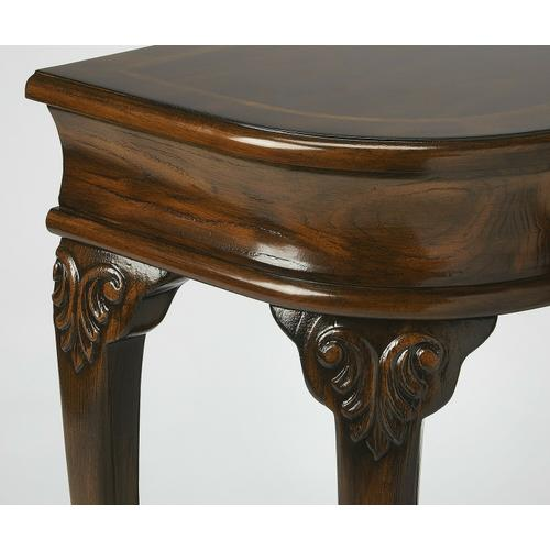 Butler Specialty Company - Selected solid woods, wood products and choice veneers. Features a cherry veneer top with a linen-fold inlay design of maple, walnut and cherry veneers. The top border is a cross grain cherry veneer with an inset inlay of maple veneer. Cherry veneer sides, drawer front and lower shelf. Drawer has antique brass finished hardware.