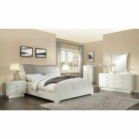 ACME Bellagio Eastern King Bed - 20387EK - PU & Ivory High Gloss