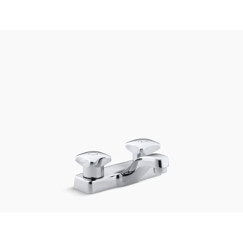 Polished Chrome Centerset Commercial Bathroom Sink Faucet With Standard Handles, Drain Not Included