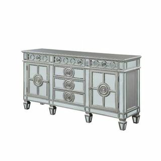 ACME Varian Server - 66164 - Glam, Vintage - Mirror, Wood (Poplar/Rbw), Poly-Resin, MDF - Mirrored and Antique Platinum