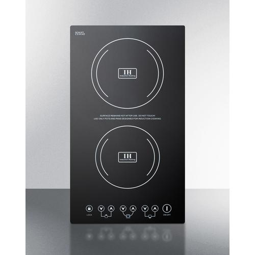 Summit - Built-in Induction Cooktop With Two Zones, 3100 Watts, 220 Volts, and Black Ceran Smooth-top Finish