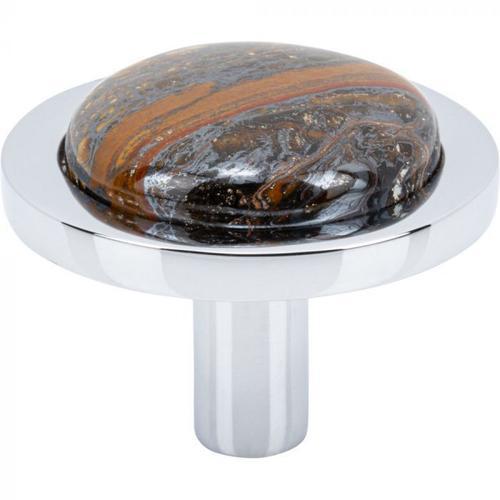 Vesta Fine Hardware - FireSky Iron Tiger Eye Knob 1 9/16 Inch Polished Chrome Base Polished Chrome