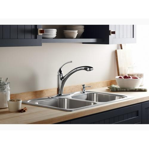 Kohler K10433g Studio41 Brushed Chrome Single Hole Or 3 Hole Kitchen Sink Faucet With 10 1 8 Pull Out Spray Spout