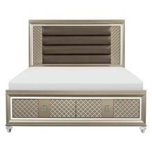 View Product - California King Platform Bed with LED Lighting and Storage Footboard