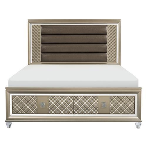 Homelegance - California King Platform Bed with LED Lighting and Storage Footboard