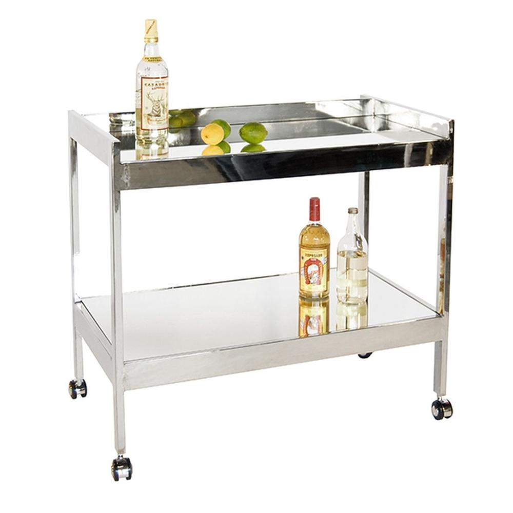 The Perfect Blank Slate for Styling the Bar Cart of Your Dreams! But Don't Let the Minimalist Lines of Our Roland Cart To Fool You - Mirrored Top and Shelf Within A Hand-finished Silver Leaf Frame Bring Serious Glamour and Polish To Your Next Happy Hour.