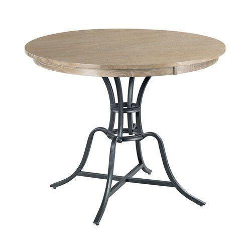 """Gallery - The Nook 44"""" Round Heathered Oak Counter Height Table with Metal Base"""