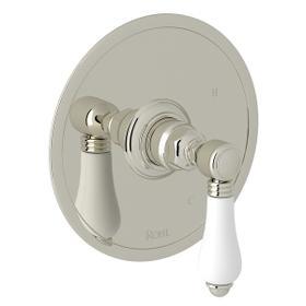 Polished Nickel Italian Bath Pressure Balance Trim Without Diverter with Porcelain Lever