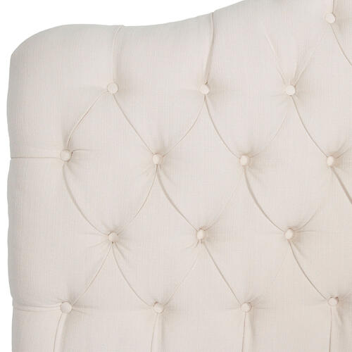 Leggett and Platt - Martinique Button-Tuft Upholstered Headboard with Adjustable Height, Ivory Finish, Twin