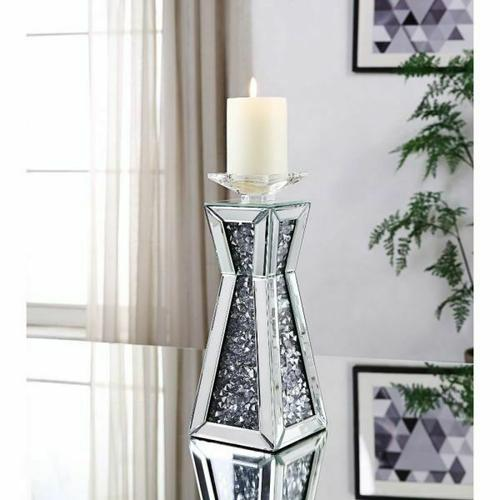 ACME Nowles Accent Candleholder (Set-2) - 97618 - Mirrored & Faux Stones