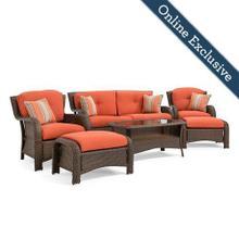 Sawyer 6 Piece Resin Wicker Patio Furniture Conversation Set, Grenadine Orange