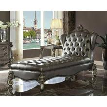 ACME Versailles Chaise Lounge - 96825 - Silver PU & Antique Platinum