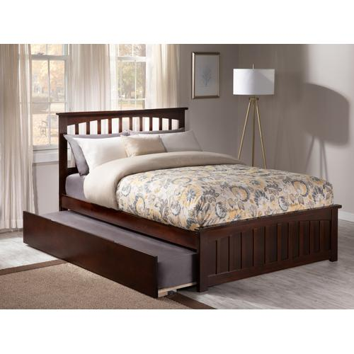 Atlantic Furniture - Mission Full Bed with Matching Foot Board with Urban Trundle Bed in Walnut