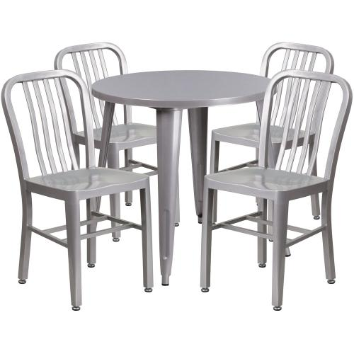30'' Round Silver Metal Indoor-Outdoor Table Set with 4 Vertical Slat Back Chairs