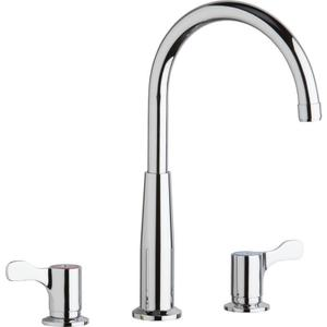 """Elkay 8"""" Centerset Concealed Deck Mount Faucet with Gooseneck Spout and 2-5/8"""" Lever Handles Chrome Product Image"""