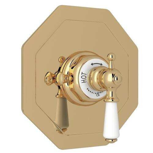 Unlacquered Brass Perrin & Rowe Edwardian Octagonal Concealed Thermostatic Trim Without Volume Control with Edwardian Metal Lever