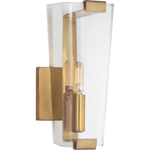 Visual Comfort - AERIN Alpine 1 Light 5 inch Hand-Rubbed Antique Brass Single Sconce Wall Light in Clear Glass, Small