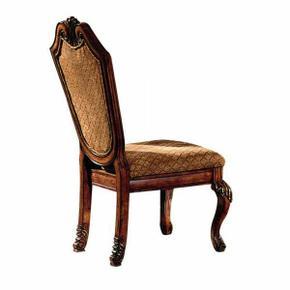 ACME Chateau De Ville Side Chair (Set-2) - 04077 - Fabric & Cherry