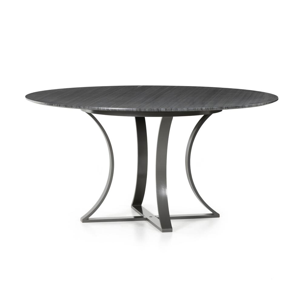 """See Details - Dark Grey Marble Finish 60"""" Size Gage Dining Table"""