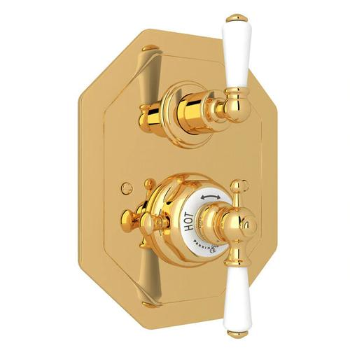 Edwardian Octagonal Concealed Thermostatic Trim with Volume Control - English Gold with Metal Lever Handle