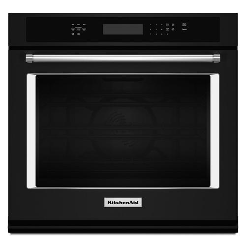"""KitchenAid - 30"""" Single Wall Oven with Even-Heat™ True Convection Black"""