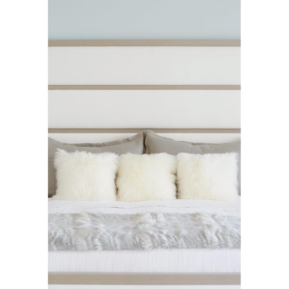California King Axiom Upholstered Panel Bed in Linear Gray (381)