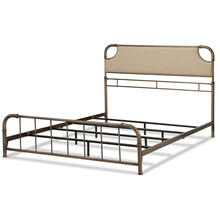 See Details - Dahlia Metal SNAP Bed with Folding Frame Bedding Support System and Sandstone Upholstered Headboard, Aged Iron Finish, Queen