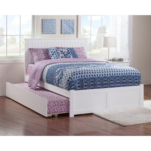 Nantucket Full Flat Panel Foot Board with Urban Trundle Bed White
